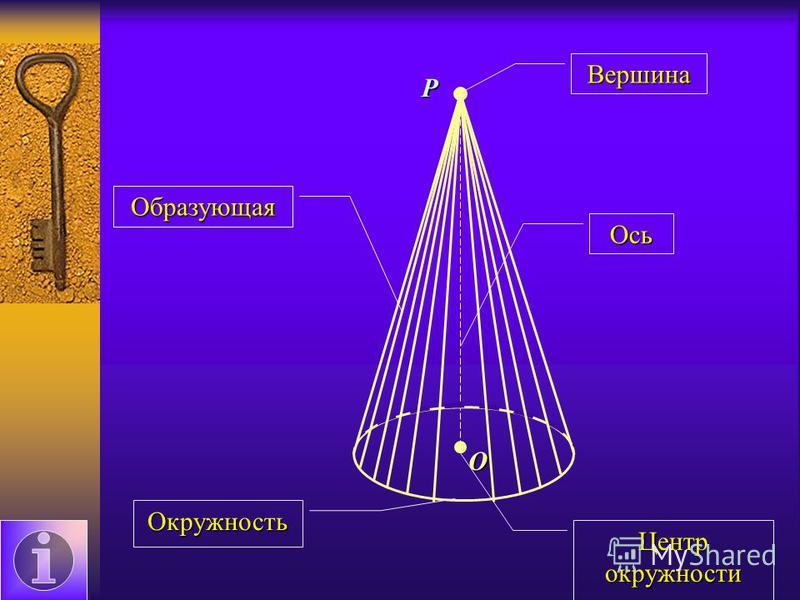 P O Образующая Окружность Ось Вершина Центр окружности