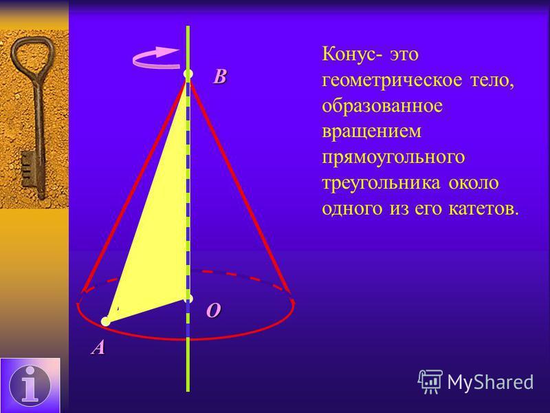 А О В Конус- это геометрическое тело, образованное вращением прямоугольного треугольника около одного из его катетов.
