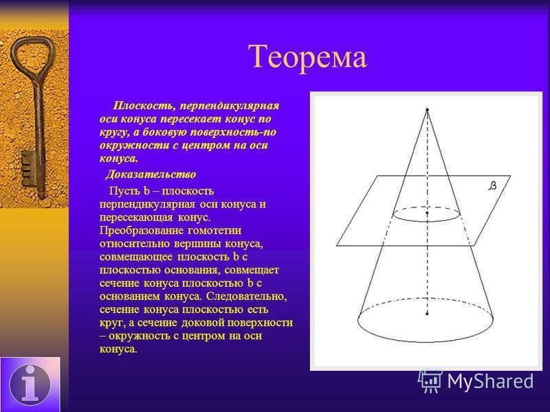 Теорема Плоскость, перпендикулярная оси конуса пересекает конус по кругу, а боковую поверхность-по окружности с центром на оси конуса. Доказательство Пусть b – плоскость перпендикулярная оси конуса и пересекающая конус. Преобразование гомотетии относ