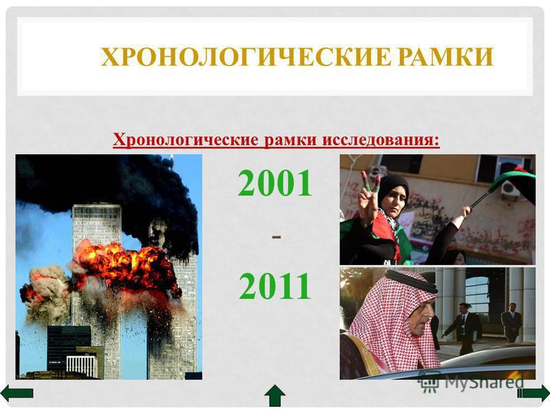 ХРОНОЛОГИЧЕСКИЕ РАМКИ Хронологические рамки исследования: 2001 - 2011