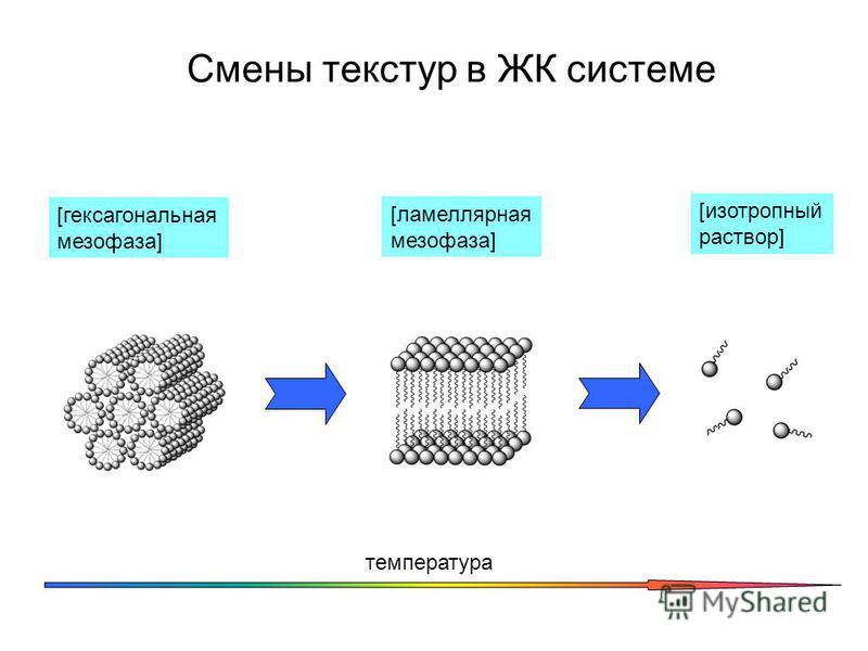 Смены текстур в ЖК системе [гексагональная мезофаза] температура [ламеллярная мезофаза] [изотропный раствор]