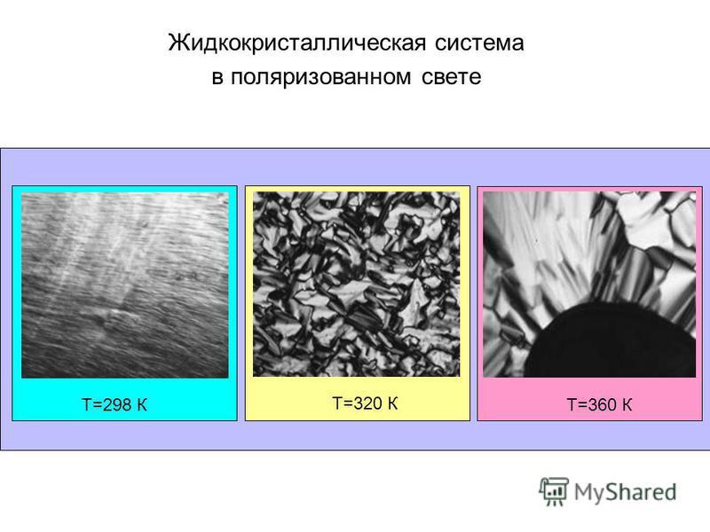 Жидкокристаллическая система в поляризованном свете Т=298 К Т=320 К Т=360 К