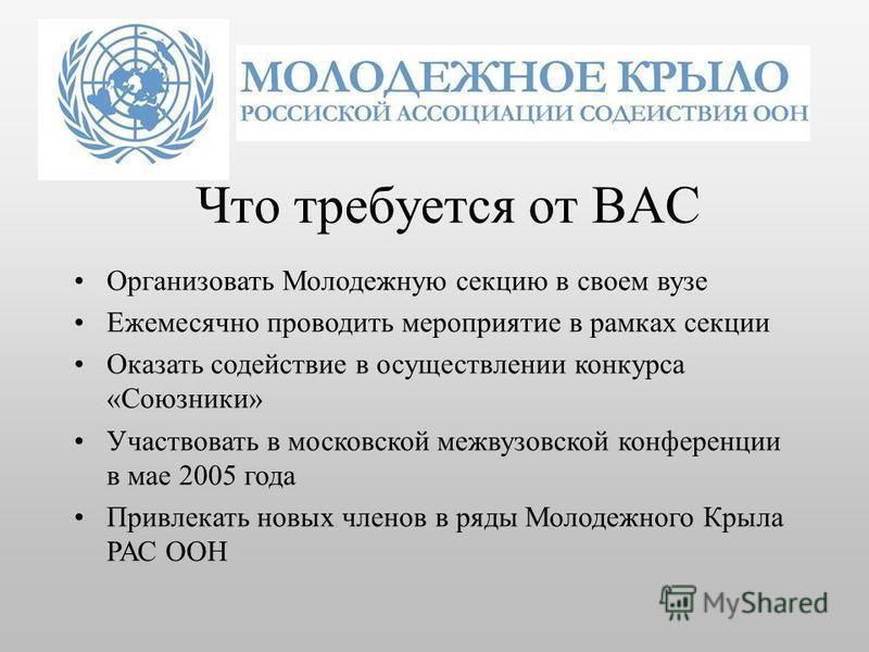 Что требуется от ВАС Организовать Молодежную секцию в своем вузе Ежемесячно проводить мероприятие в рамках секции Оказать содействие в осуществлении конкурса «Союзники» Участвовать в московской межвузовской конференции в мае 2005 года Привлекать новы