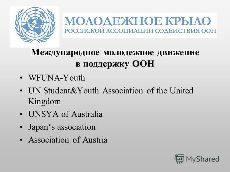 Международное молодежное движение в поддержку ООН WFUNA-Youth UN Student&Youth Association of the United Kingdom UNSYA of Australia Japans association Association of Austria