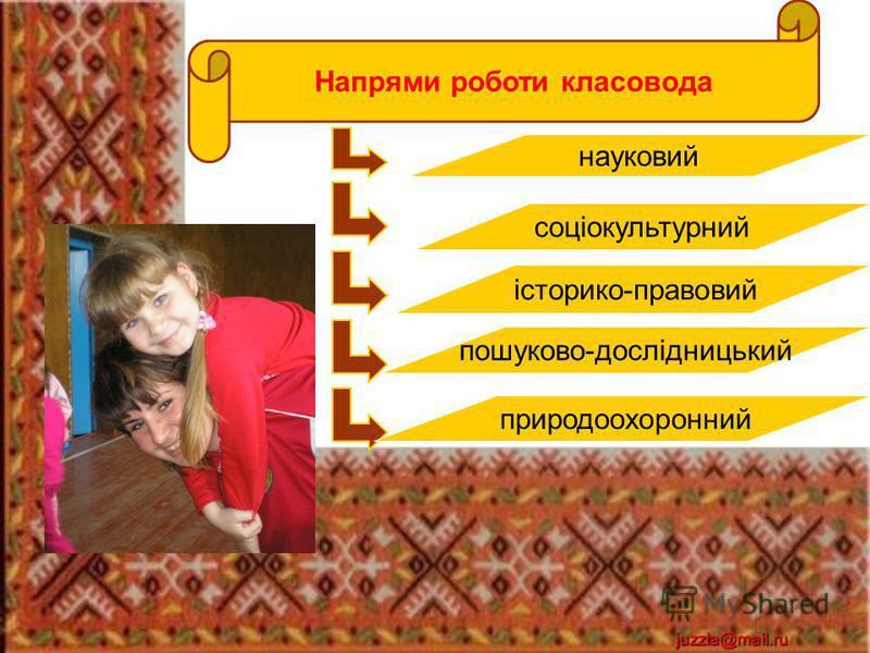 juzzia@mail.ru Напрями роботи класовода науковий соціокультурний історико-правовий пошуково-дослідницький природоохоронний