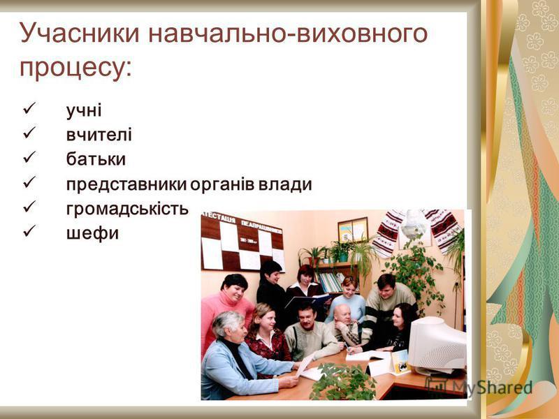Учасники навчально-виховного процесу: учні вчителі батьки представники органів влади громадськість шефи