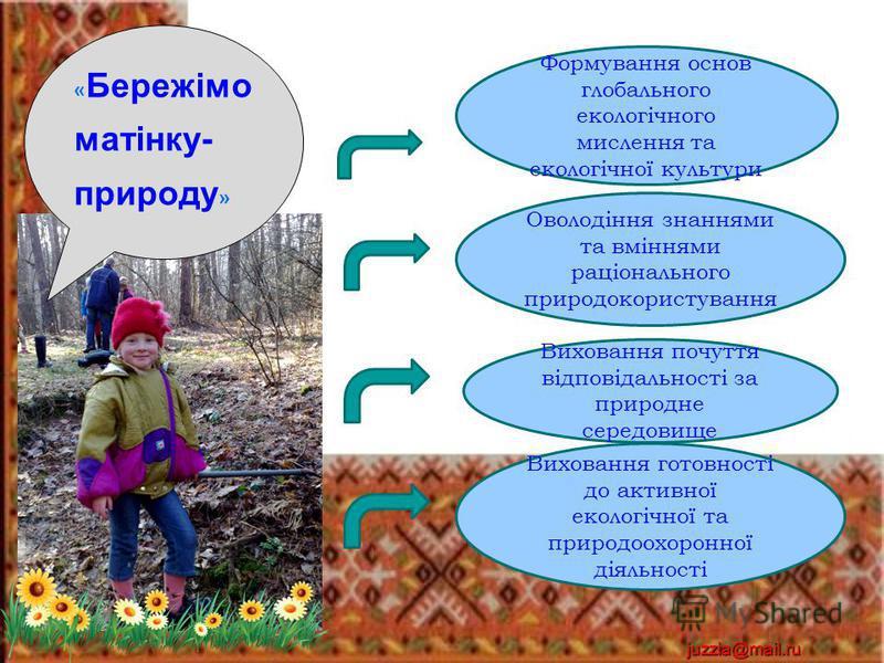 juzzia@mail.ru Формування основ глобального екологічного мислення та екологічної культури Оволодіння знаннями та вміннями раціонального природокористування Виховання почуття відповідальності за природне середовище Виховання готовності до активної еко