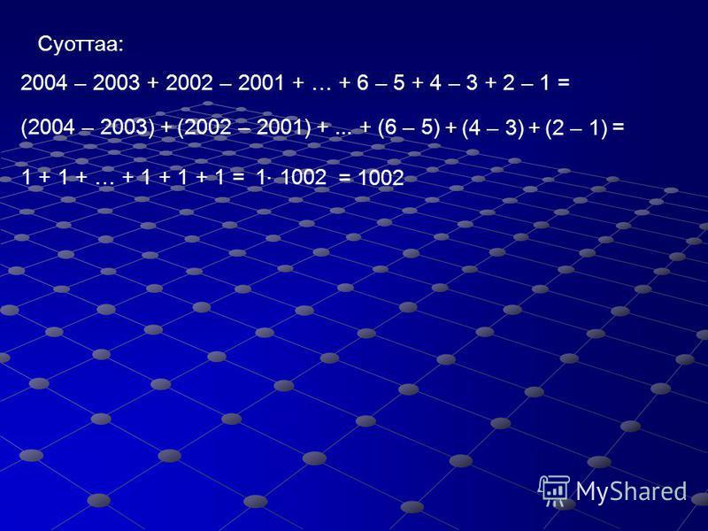 1 3 5 7 9 11 13 – 1 бу чыыhыла 10-ца туцэтиллэр дуо?...... 1111111 Чыыhылалар бары 1 сыыппыранан бутэллэр. Ол аата тогуллэтэлээтэхпитинэ 1 сыыппыранан бутэр. 11 31 51 71 91 111 131 – 1 = … 1 – 1 = … 0...... нулунан бутэр чыыhыла 10- ца туцэтиллэр