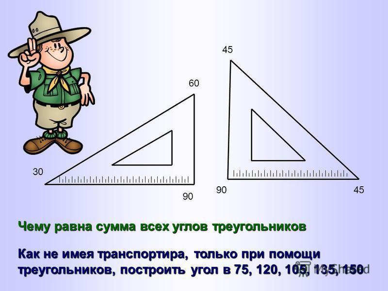 30 60 90 45 9045 Чему равна сумма всех углов треугольников Как не имея транспортира, только при помощи треугольников, построить угол в 75, 120, 105, 135, 150