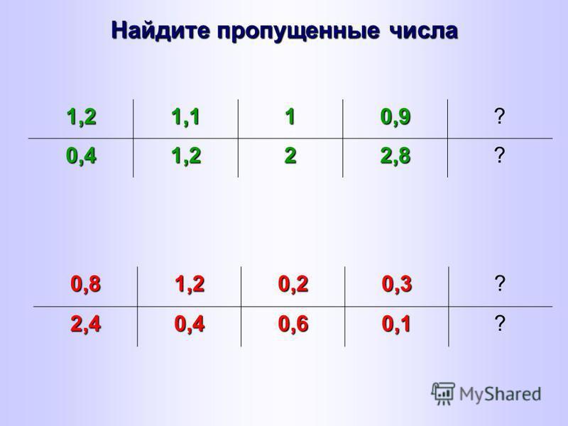 Найдите пропущенные числа 1,21,110,9? 0,41,222,8? 0,81,20,20,3?2,40,40,60,1?