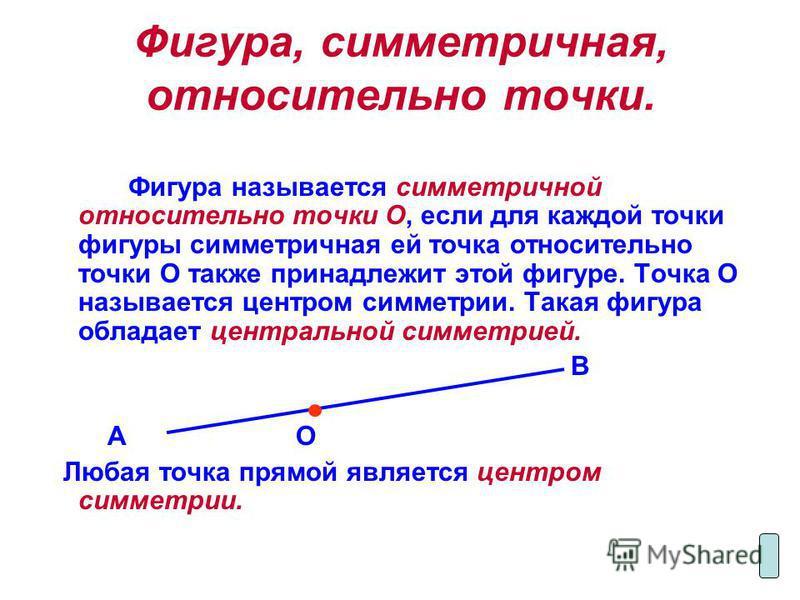Фигура, симметричная, относительно точки. Фигура называется симметричной относительно точки О, если для каждой точки фигуры симметричная ей точка относительно точки О также принадлежит этой фигуре. Точка О называется центром симметрии. Такая фигура о