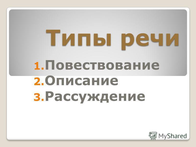 Типы речи 1. Повествование 2. Описание 3. Рассуждение
