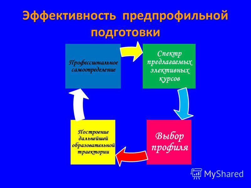 Эффективность предпрофильной подготовки Спектр предлагаемых элективных курсов Выбор профиля Построение дальнейшей образовательной траектории Профессиональное самоопределение