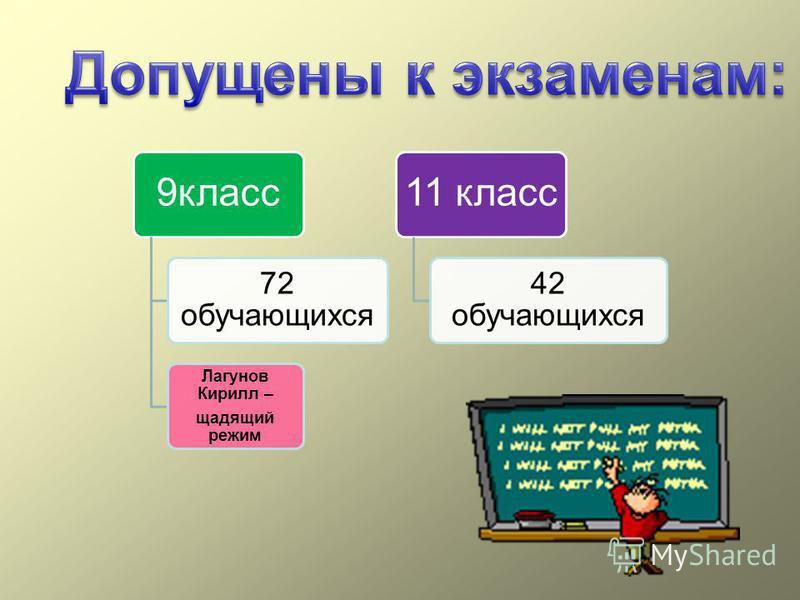 9 класс 72 обучающихся Лагунов Кирилл – щадящий режим 11 класс 42 обучающихся