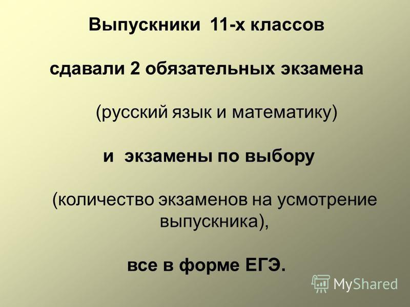 Выпускники 11-х классов сдавали 2 обязательных экзамена (русский язык и математику) и экзамены по выбору (количество экзаменов на усмотрение выпускника), все в форме ЕГЭ.