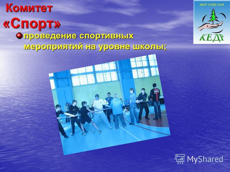 Комитет «Спорт» Комитет «Спорт» проведение спортивных мероприятий на уровне школы;