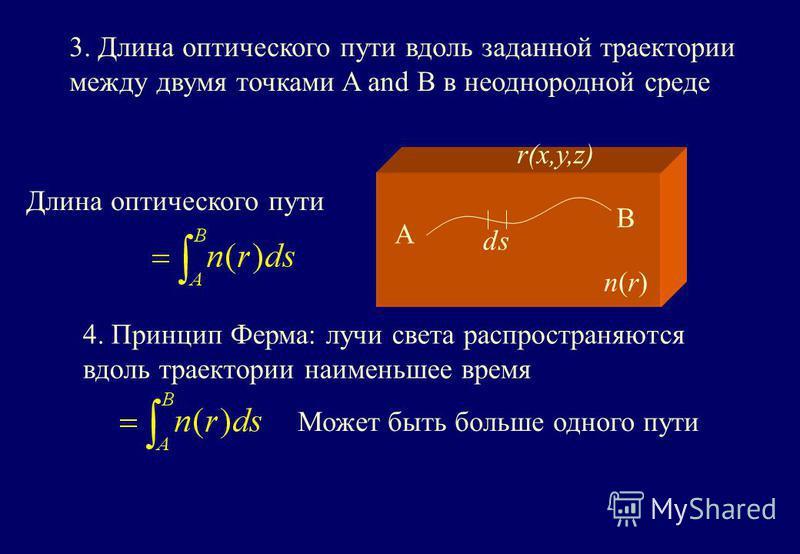 3. Длина оптического пути вдоль заданной траектории между двумя точками A and B в неоднородной среде Длина оптического пути A B ds n(r)n(r) r(x,y,z) 4. Принцип Ферма: лучи света распространяются вдоль траектории наименьшее время Может быть больше одн