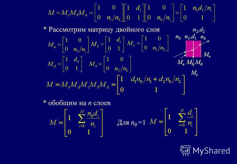 * Рассмотрим матрицу двойного слоя n1,d1n1,d1 n0n0 n0n0 MaMa MbMb McMc MdMd MeMe n2,d2n2,d2 * обобщим на n слоев Для n 0 =1