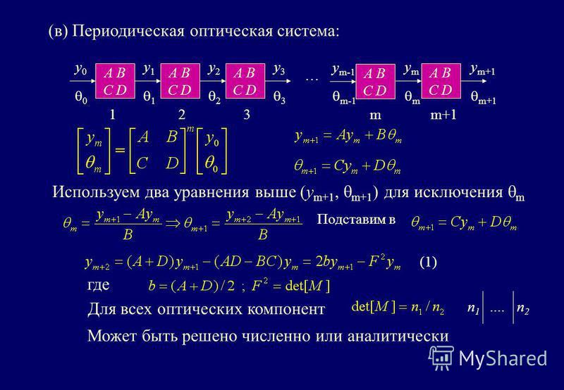 A B C D A B C D A B C D A B C D … y0y0 0 y1y1 1 y2y2 2 y3y3 3 ymym m y m+1 m+1 123 A B C D y m-1 m-1 m (в) Периодическая оптическая система: Используем два уравнения выше (y m+1, m+1 ) для исключения m Подставим в Может быть решено численно или анали