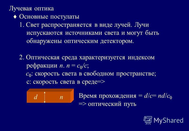 Лучевая оптика Основные постулаты 1. Свет распространяется в виде лучей. Лучи испускаются источниками света и могут быть обнаружены оптическим детектором. 2. Оптическая среда характеризуется индексом рефракции n. n = c 0 /c; c 0 : скорость света в св