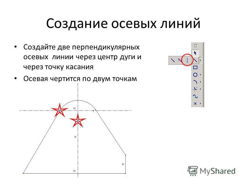 Создание осевых линий Создайте две перпендикулярных осевых линии через центр дуги и через точку касания Осевая чертится по двум точкам