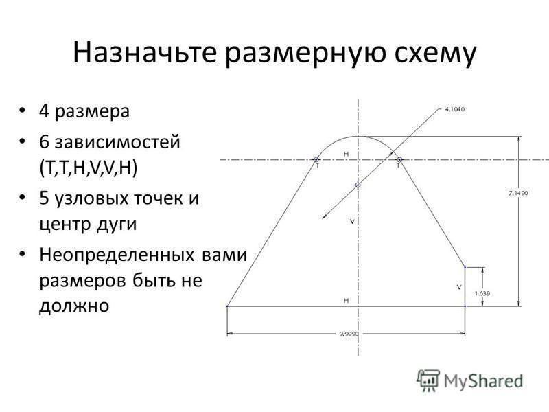 Назначьте размерную схему 4 размера 6 зависимостей (Т,Т,H,V,V,H) 5 узловых точек и центр дуги Неопределенных вами размеров быть не должно