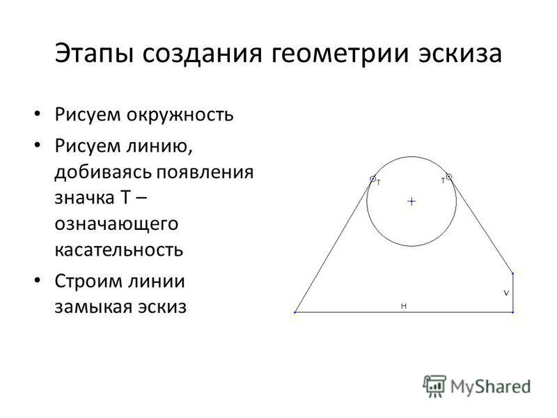 Этапы создания геометрии эскиза Рисуем окружность Рисуем линию, добиваясь появления значка T – означающего доказательность Строим линии замыкая эскиз