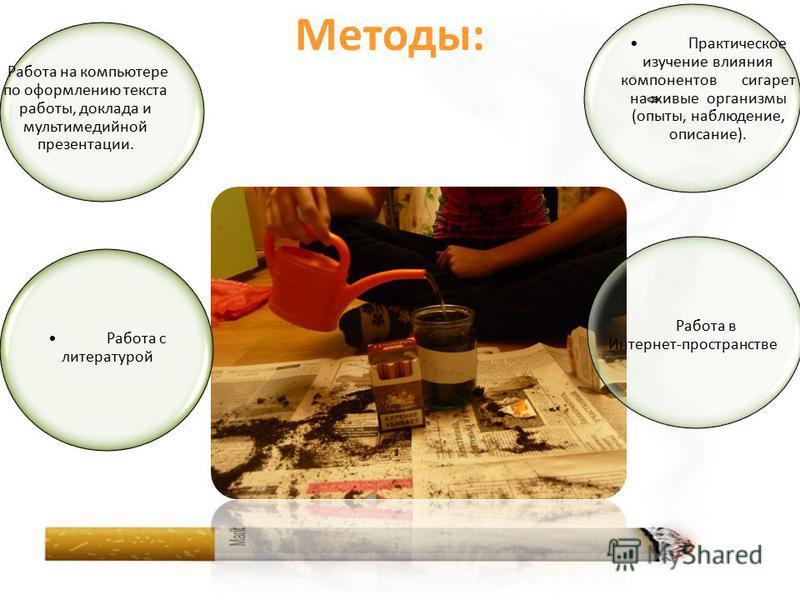 Работа с литературой Работа в Интернет-пространстве Практическое изучение влияния компонентов сигарет на живые организмы (опыты, наблюдение, описание). Работа на компьютере по оформлению текста работы, доклада и мультимедийной презентации. Методы: