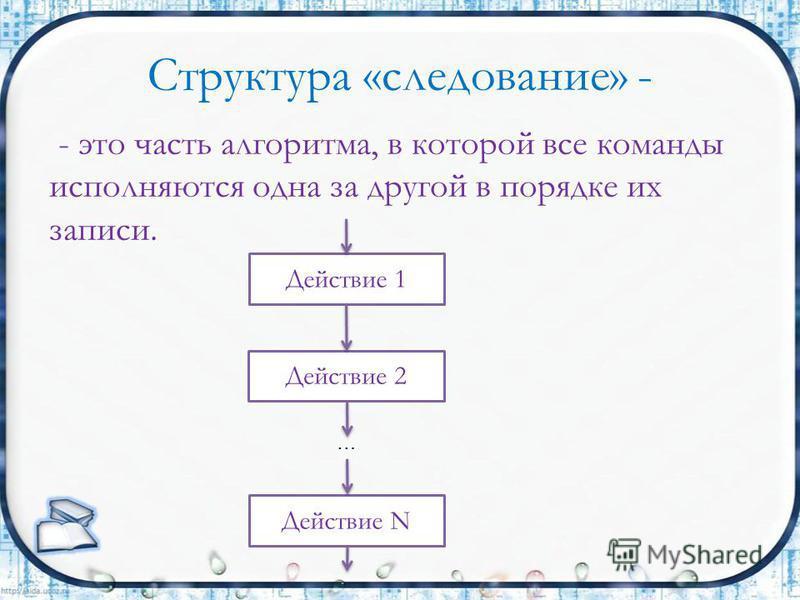 - это часть алгоритма, в которой все команды исполняются одна за другой в порядке их записи. Структура «следование» - Действие 1 Действие 2 Действие N …