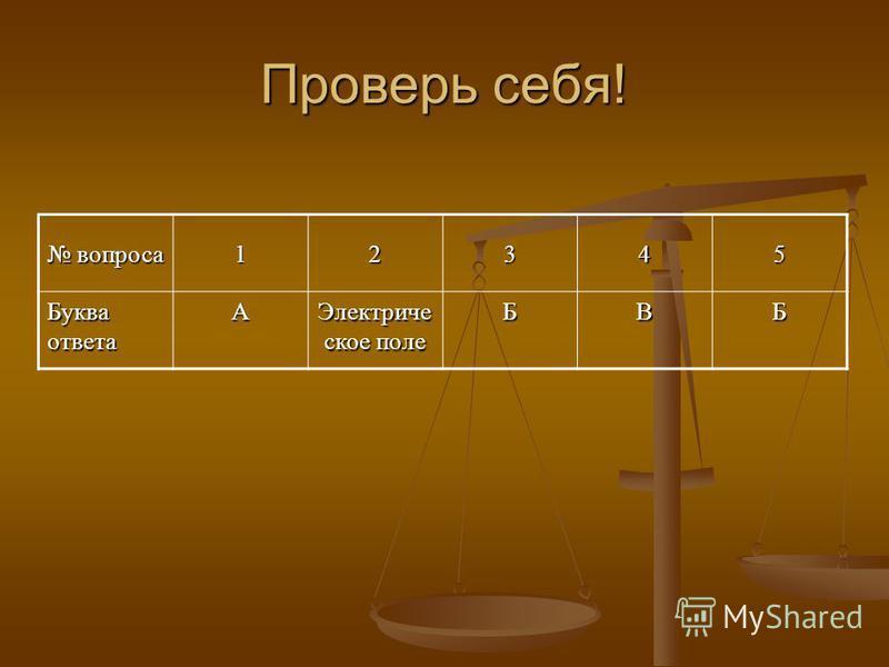 Проверь себя! вопроса вопроса 12345 Буква ответа А Электриче ское поле БВБ