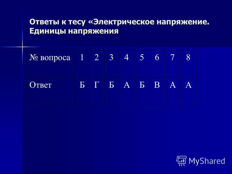 Ответы к тесу «Электрическое напряжение. Единицы напряжения вопроса 12345678 ОтветБГБАБВАА