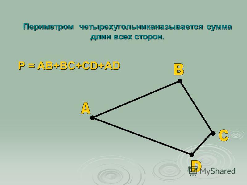 Периметром четырехугольника называется сумма длин всех сторон. P = AB+BC+CD+AD