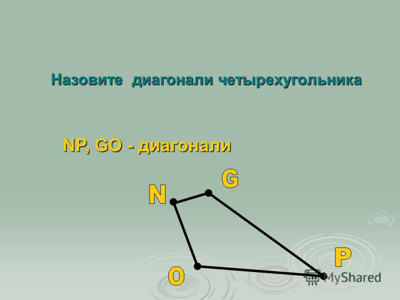 Назовите диагонали четырехугольника NP, GO - диагонали