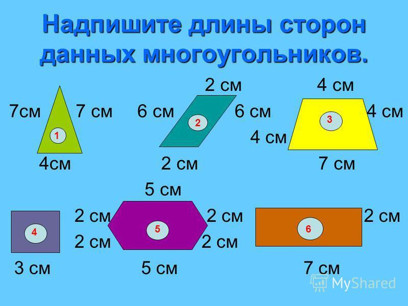 Надпишите длины сторон данных многоугольников. 2 см 4 см 7 см 7 см 6 см 6 см 4 см 4 см 4 см 2 см 7 см 5 см 2 см 2 см 2 см 2 см 2 см 3 см 5 см 7 см 1 2 3 4 56
