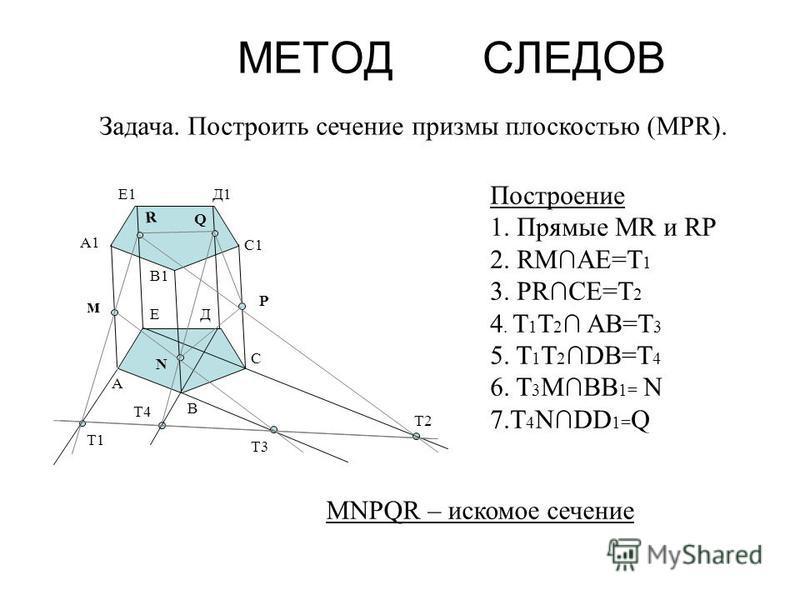 МЕТОД СЛЕДОВ Задача. Построить сечение призмы плоскостью (МРR). Построение 1. Прямые МR и RP 2. RMAE=T 1 3. PRCE=T 2 4. T 1 T 2 AB=T 3 5. T 1 T 2DB=T 4 6. T 3 MBB 1= N 7. T 4 NDD 1= Q R N Q м P T1 T2 T3 T4 А В С ДЕ А1 В1 С1 Д1Е1 MNPQR – искомое сечен