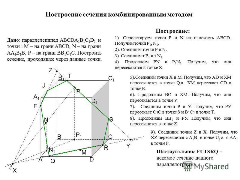 A A1A1 B B1B1 C C1C1 D D1D1 X N P Y F U T Z M N1N1 Q R S P1P1 Построение сечения комбинированным методом Дано: параллелепипед ABCDA 1 B 1 C 1 D 1 и точки : М – на грани ABCD, N – на грани AA 1 B 1 B, Р – на грани ВВ 1 С 1 С. Построить сечение, проход