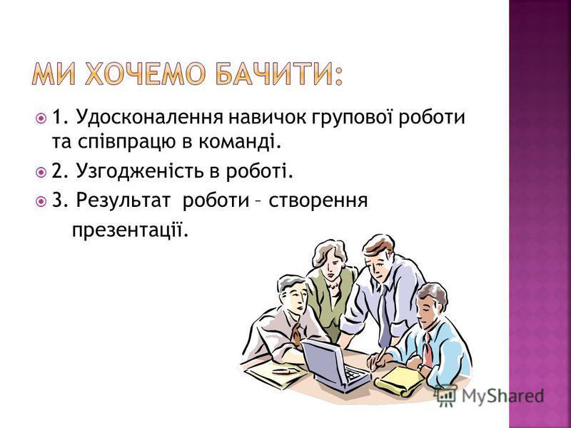 1. Удосконалення навичок групової роботи та співпрацю в команді. 2. Узгодженість в роботі. 3. Результат роботи – створення презентації.