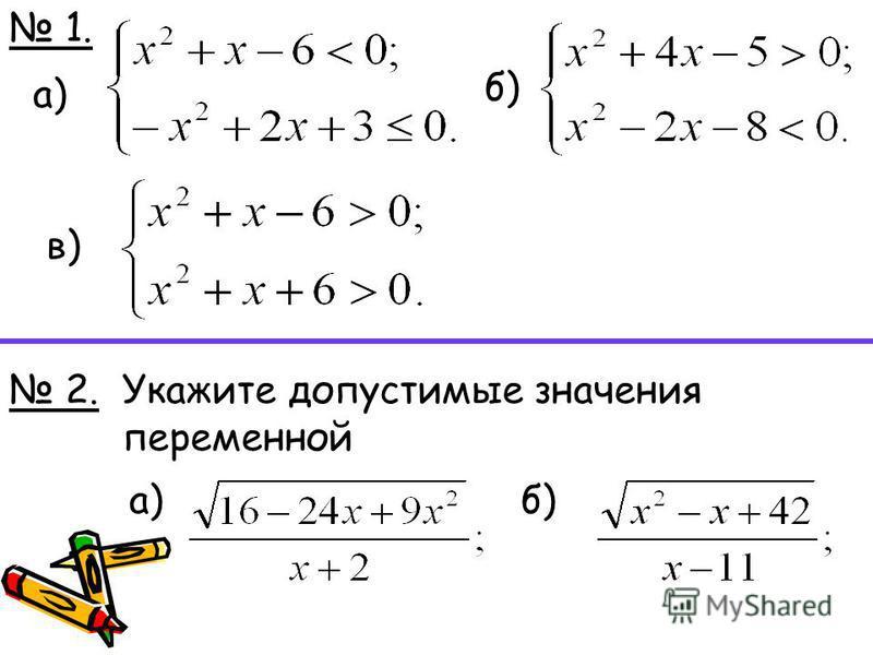 1. 1. 2. а) б) в) Укажите допустимые значения переменной а)б)