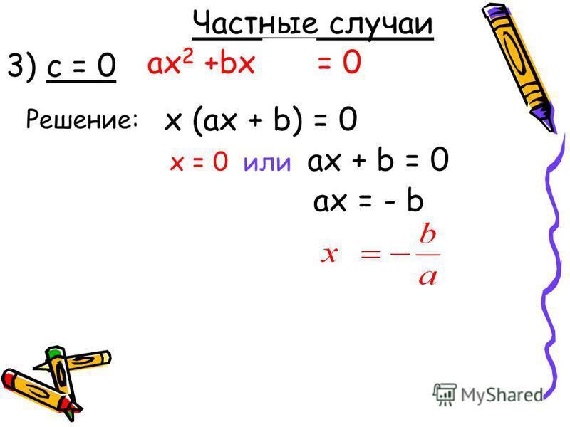 ax 2 +bx + c = 0 Решение: Частные случаи 3) с = 0 x (ax + b) = 0 x = 0 или ax + b = 0 ах = - b
