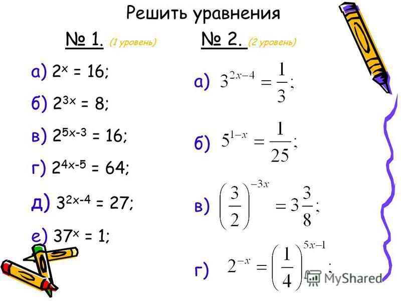 1. (1 уровень) а) 2 x = 16; б) 2 3x = 8; в) 2 5x-3 = 16; г) 2 4x-5 = 64; д) 3 2x-4 = 27; е) 37 x = 1; Решить уравнения 2. (2 уровень) а) б) в) г)