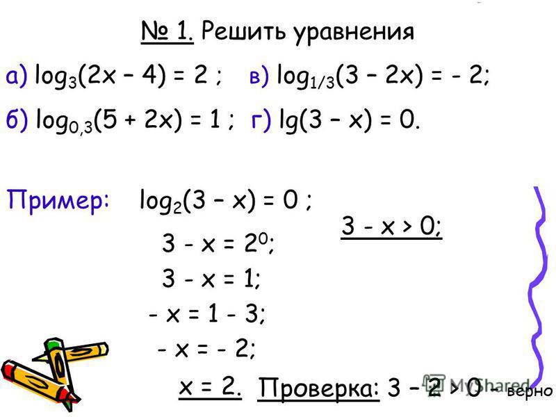 log a х = b Логарифмическое уравнение Решение: x = а b Пример: log 2 (3 – x) = 0 ; 3 - x = 2 0 ; x = 2. a > 0, a 1, b > 0 ! x > 0 3 - x = 1; - x = 1 - 3; - x = - 2; 3 - x > 0; Проверка: 3 – 2 > 0 - верно 1. Решить уравнения а) log 3 (2x – 4) = 2 ; в)