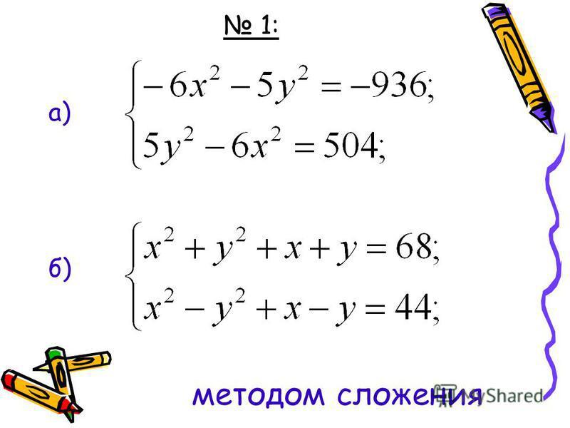 1: а) б) методом сложения