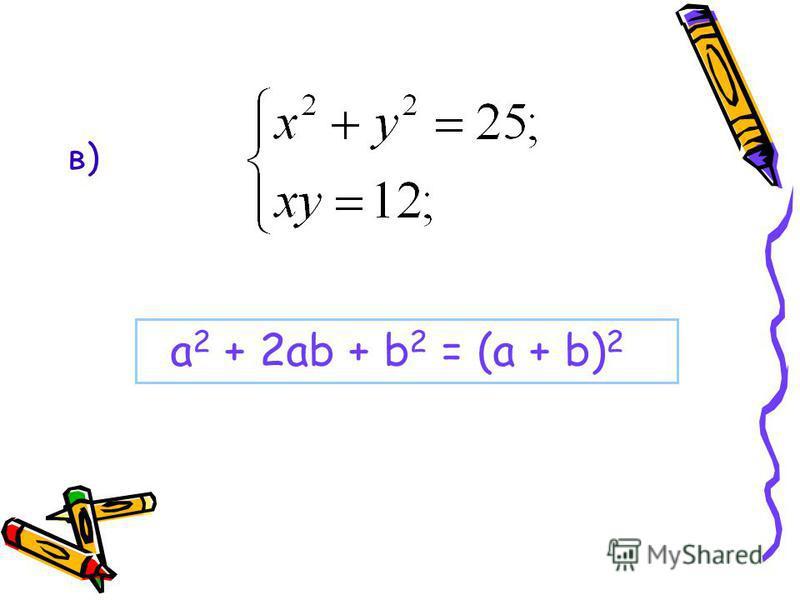 в) а 2 + 2 аb + b 2 = (a + b) 2