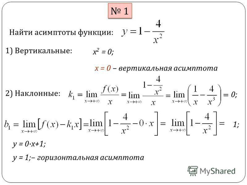 1 1 Найти асимптоты функции : 1) Вертикальные : х 2 = 0; х = 0 – вертикальная асимптота 2) Наклонные : 0; 1; y = 1; – горизонтальная асимптота y = 0x+1;