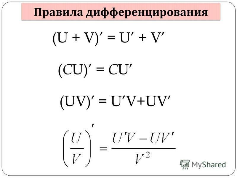 Правила дифференцирования (U + V) = U + V ( C U) = C U (UV) = UV+UV