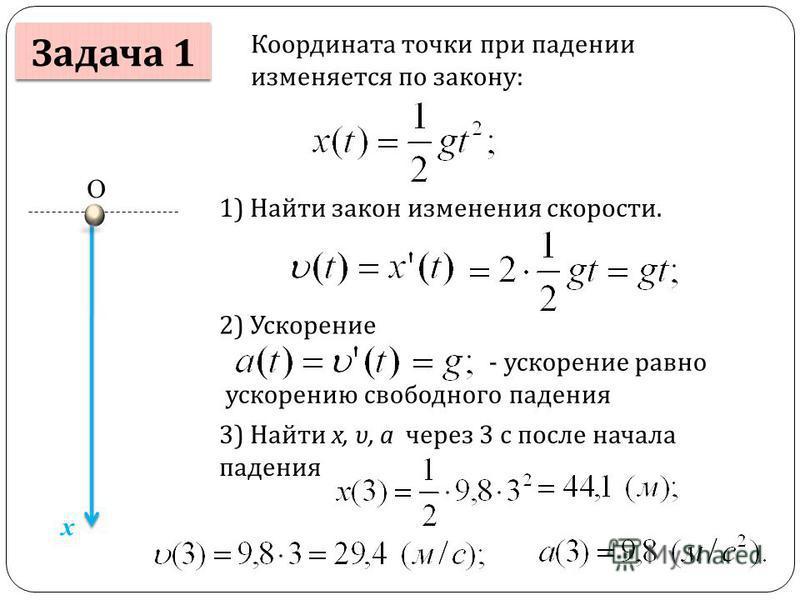 Задача 1 Координата точки при падении изменяется по закону: x О 1) Найти закон изменения скорости. 2) Ускорение - ускорение равно ускорению свободного падения 3) Найти x, υ, a через 3 с после начала падения