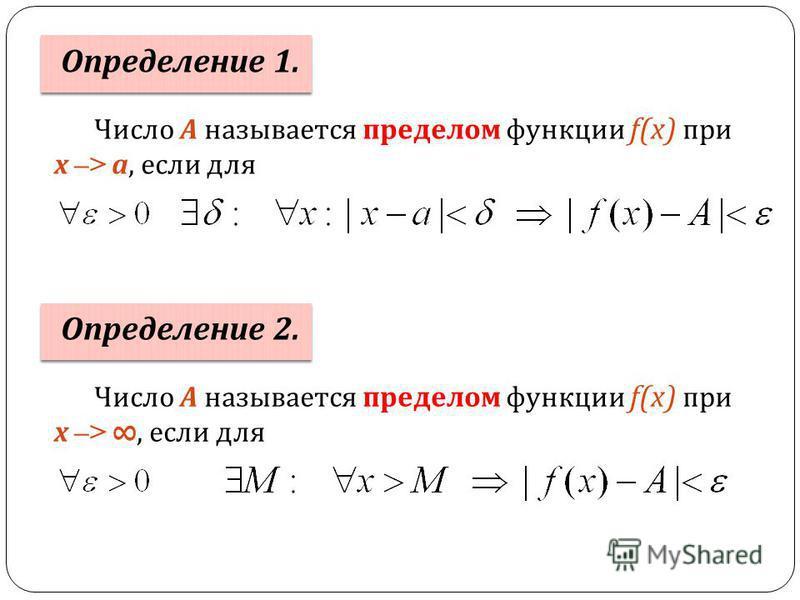 Число А называется пределом функции f(x) при х –> а, если для Определение 1. Число А называется пределом функции f(x) при х –>, если для Определение 2.
