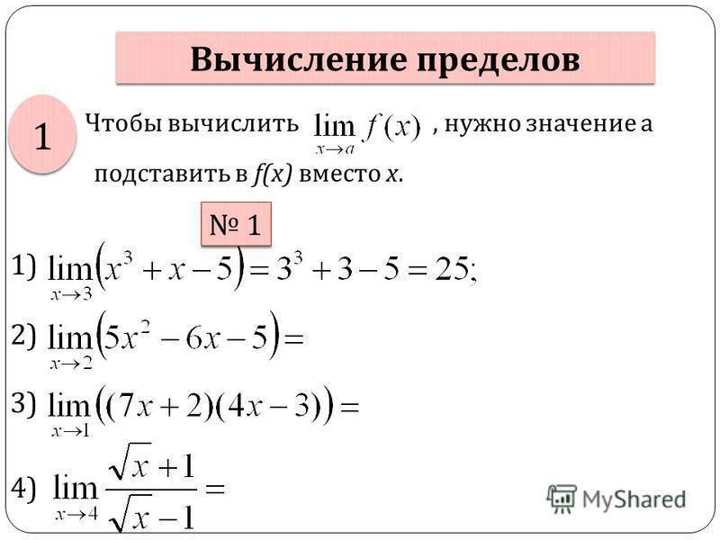 Чтобы вычислить, нужно значение а подставить в f(x) вместо х. Вычисление пределов 1 1 1 1 1) 2) 3) 4)