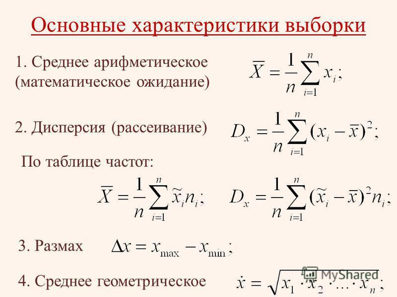 Основные характеристики выборки 1. Среднее арифметическое (математическое ожидание) 2. Дисперсия (рассеивание) 3. Размах 4. Среднее геометрическое По таблице частот: