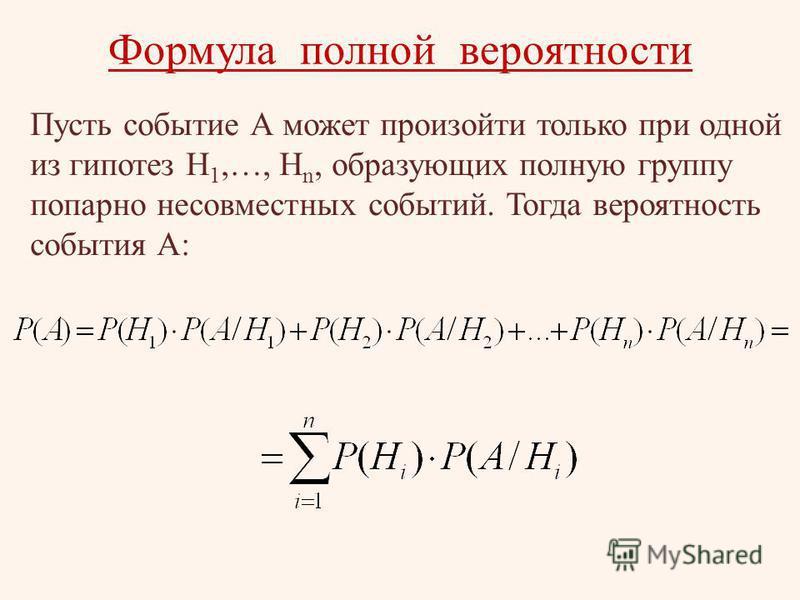 Формула полной вероятности Пусть событие А может произойти только при одной из гипотез Н 1,…, Н n, образующих полную группу попарно несовместных событий. Тогда вероятность события А: